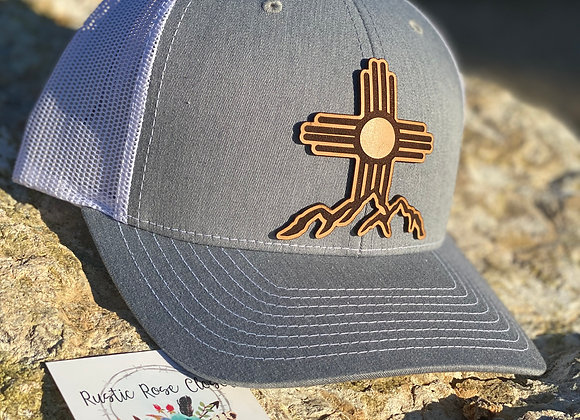 Zia Symbol Over Mountains Cut Out Leather Patch Richardson Hat