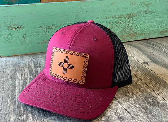 Zia Rectangle Leather Patch With Rope on Richardson Snap back Trucker Ha