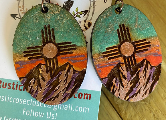 NM Mountain Sunset Wood Earrings