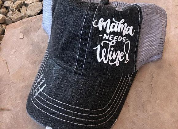 Mama Needs Wine Baseball Hat Gray