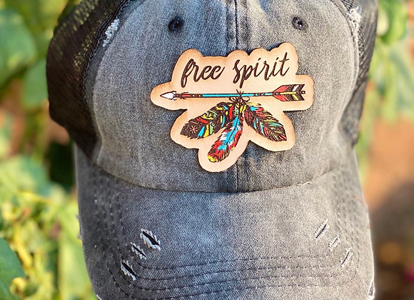 Free Spirit Leather Patch Ponytail Hat