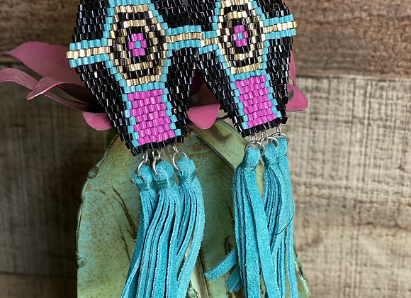 Bead Earrings with Turquoise Fringe
