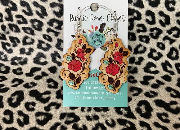 Rose Vine Wood Earrings