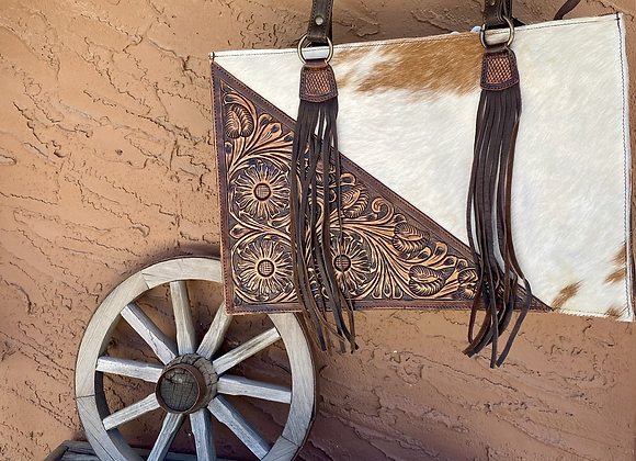 American Darling Tooled Leather Cowhide Bag with Fringe