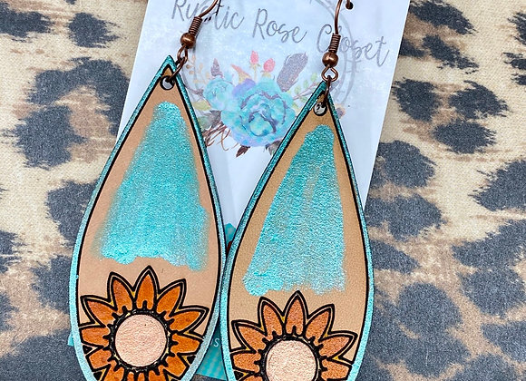 Sunflower teardrop Leather Earrings