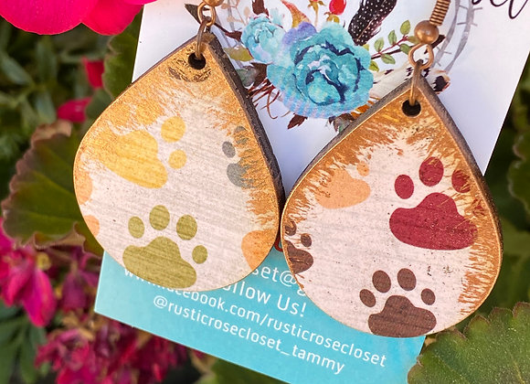Paw Print Teardrop Wood Earrings
