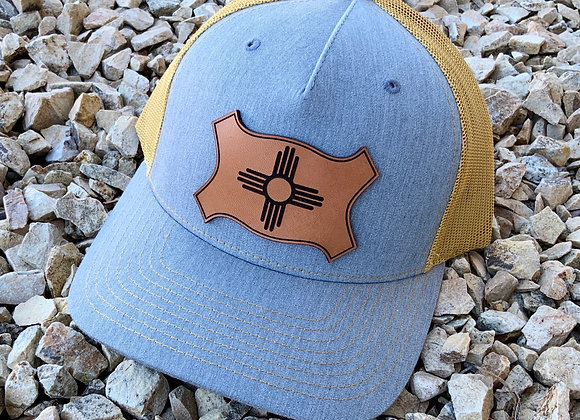 Leather Patch with Engraved Zia on Richardson SnapBack Trucker Hat