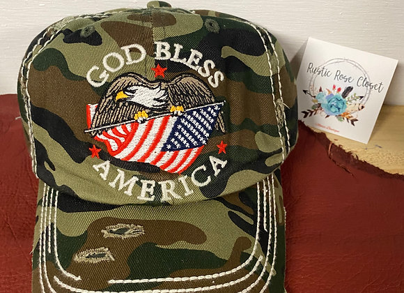 God Bless America Camo Hat