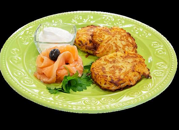 Драники «Ершовские» из картофеля с малосольным лососем