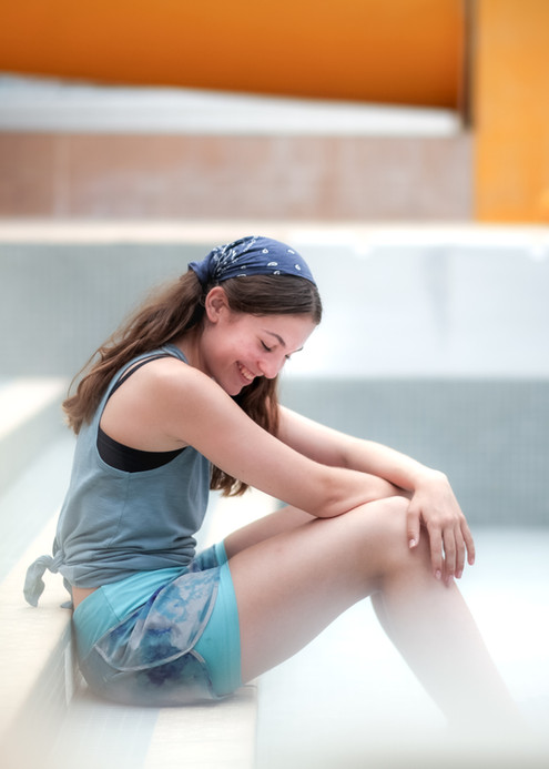 candid portrait of teenage girl laughing