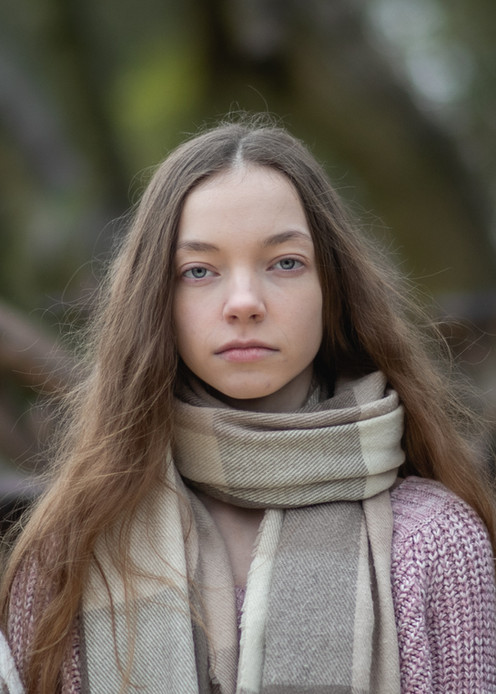 portrait of teenage girl in woods