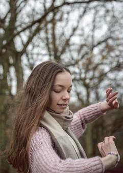 teenage girl dancer in woods