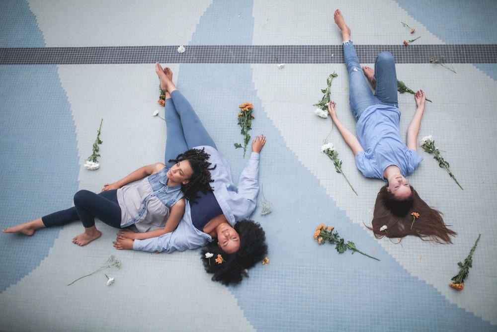 teenage girls portrait laying down on floor