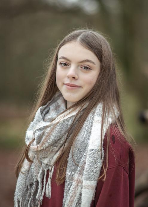 teenage girl in scarf portrait
