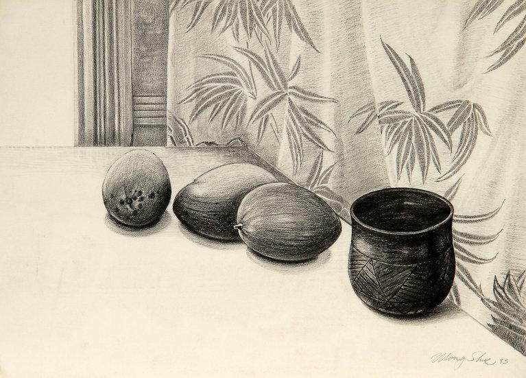Mangoes and Ceramic Jar