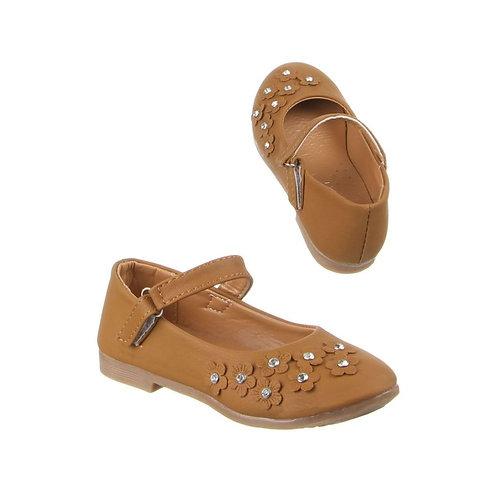 Girls Tan Embellished Mary Jane Shoes