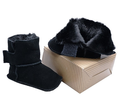Infants Black Leather Fur-Lined Booties