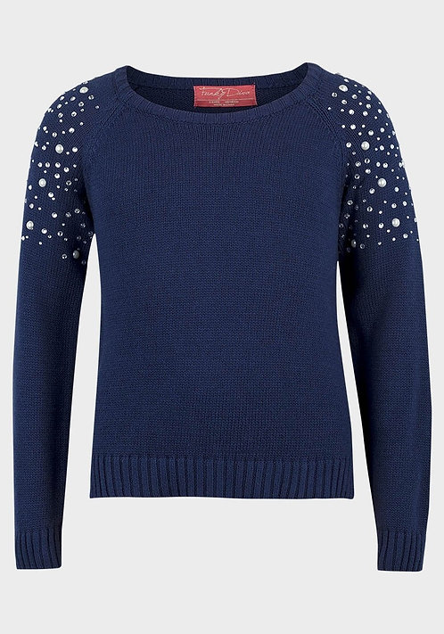 Funky Diva Girls Cotton Knit Jumper Navy