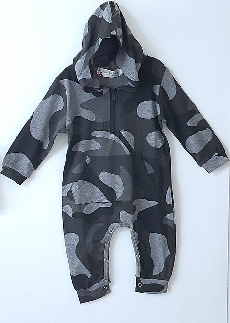 Hooded Camo Baby Romper
