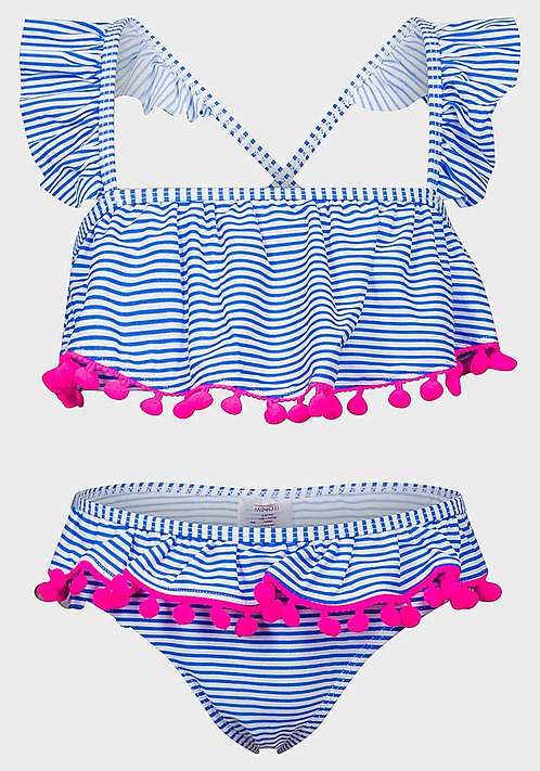 Minoti Girls Blue Stripe Pom Pom Bikini