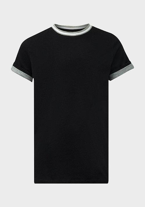 Mantis Boys Ribbed Black Contrast T-Shirt