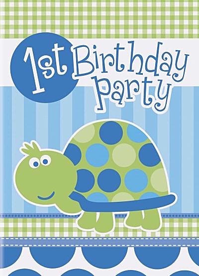 8 Blue turtle 1st birthday invitations