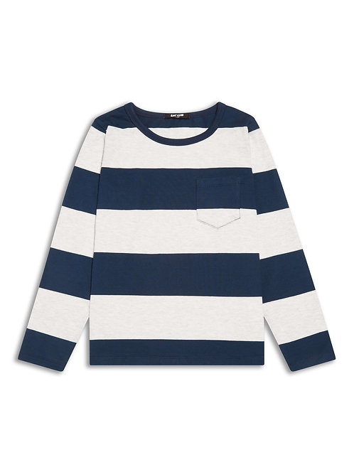 Boys navy stripe long sleeve top
