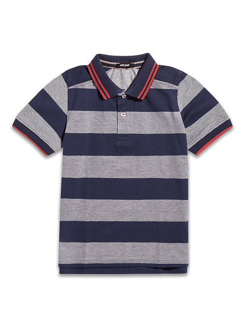 Boys navy and grey stripe polo shirt