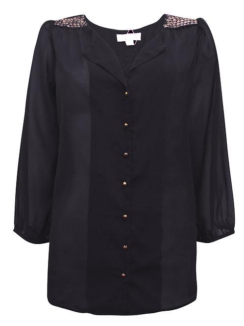 Halens Black Studded Shoulder Chiffon Shirt