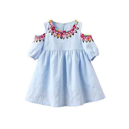 Girls Pale Blue Boho Cold Shoulder Mini Dress