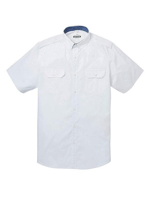 Jacamo WHITE Mens Pure Cotton Short Sleeve Military Shirt