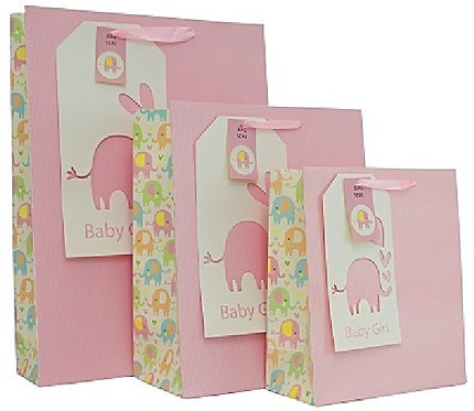 Medium Baby Girl pink elephant gift bag