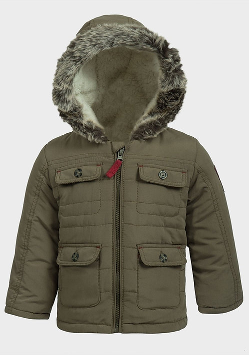 Boys Fur Hood Padded Olive Coat