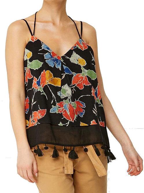 N3XT BLACK Floral Print Tassel Trim Camisole Top Petite
