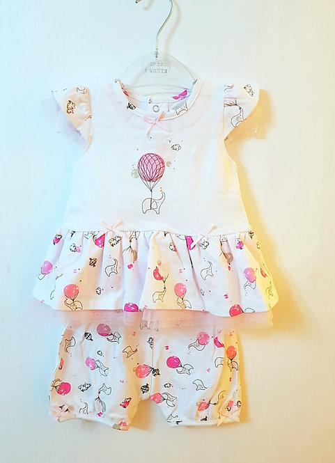 Zip zap Pink Elephant Ruffle Top And Shorts 2 Piece Set