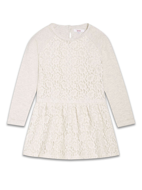 Girls light grey lace overlay dress