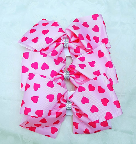 8 Inch Extra Large Diamante Heart Bow