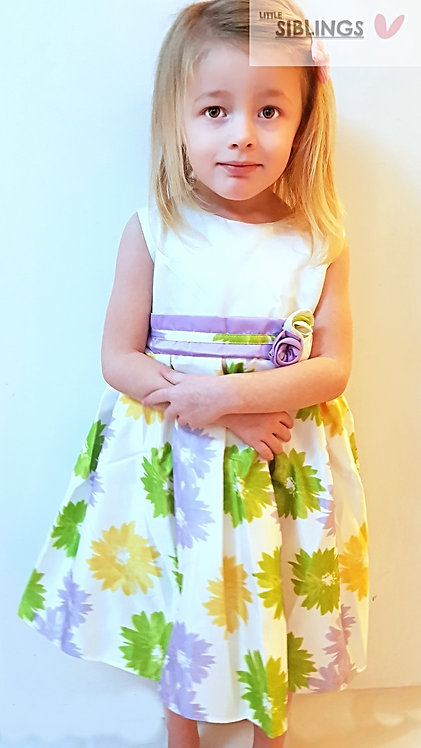 Yellow Floral Occasion Party Dress