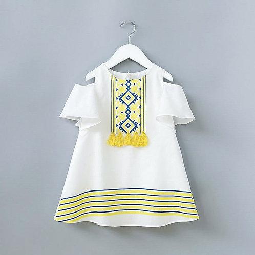 Girls cold shoulder Lemon Tassel Dress