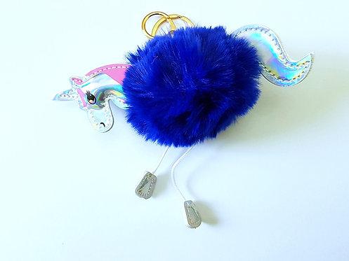 Unicorn Pom Pom Key Ring Blue