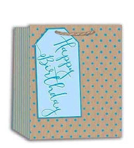 Blue polka dot large tag Happy birthday gift bag