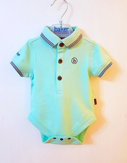 Baker By Ted Baker Mint Green Baby Polo Bodysuit