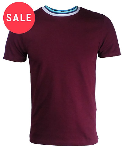 Mens Round Neck Burgundy T Shirt