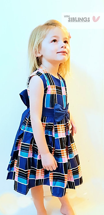 Blue checked Occasion Party Dress