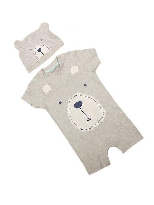 2 Piece Light Grey Bear Romper & Hat Set