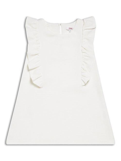 Girls light cream frill dress