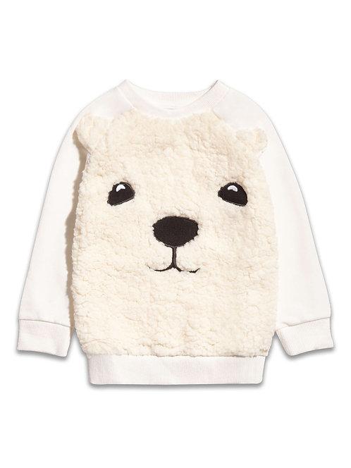 Girls fluffy polar bear jumper