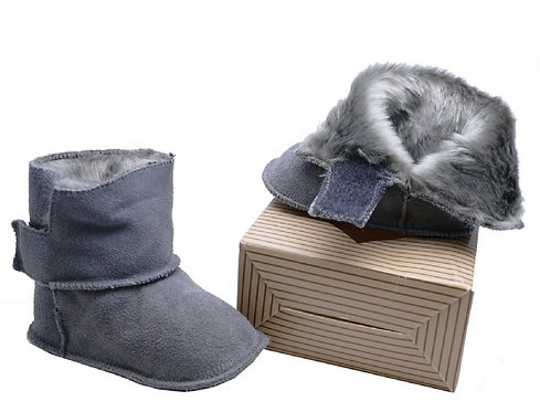 Infants Grey Leather Fur-Lined Booties