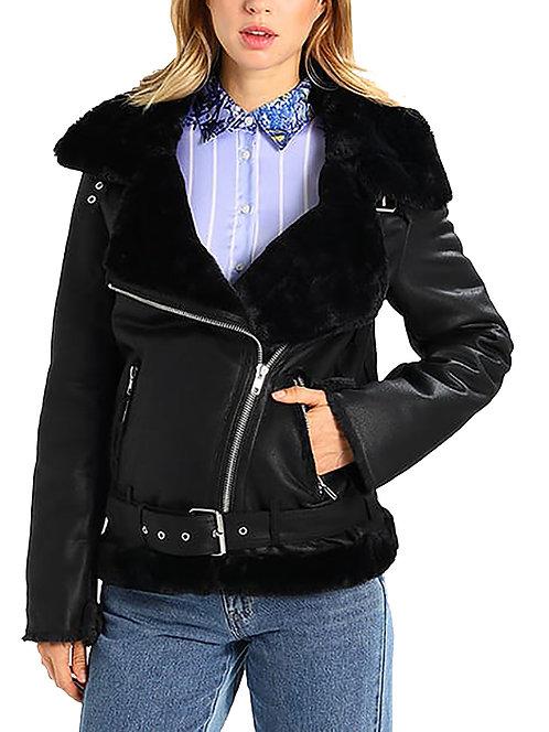 Black Aviator Faux Fur Biker Jacket