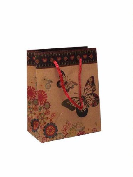Pretty Brown paper Butterfly gift bag